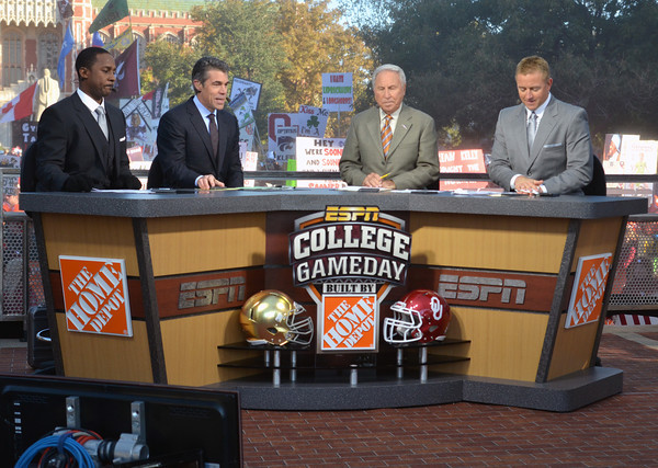 ESPN's College GameDay analysts broadcast the show live from the south oval on the University of Oklahoma campus Saturday before OU takes on Notre Dame in Norman.<br /> Kyle Phillips/The Transcript
