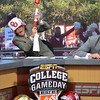 ESPN College GameDay commentator Lee Corso shoots off the Ruf/Neks gun as he makes the prediction that OU will top Notre Dame Saturday as the show broadcasts from the south oval on the University of Oklahoma Campus.<br /> Kyle Phillips/The Transcript