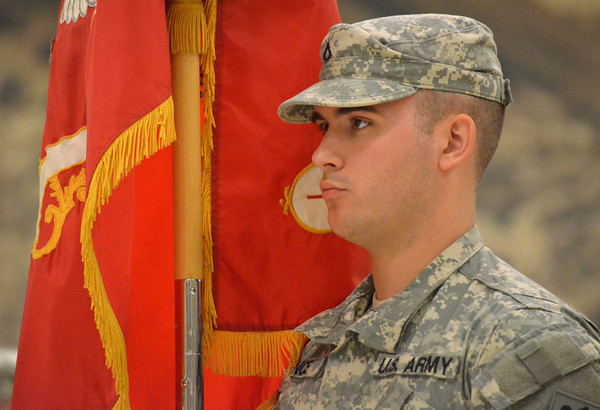 An Oklahoma National Guard soldier stands at attention  during the change of command ceremony for the 45th Infantry Brigade Combat Team at the Norman Armed Forces Reserve Center. <br /> Kyle Phillips/The Transcript
