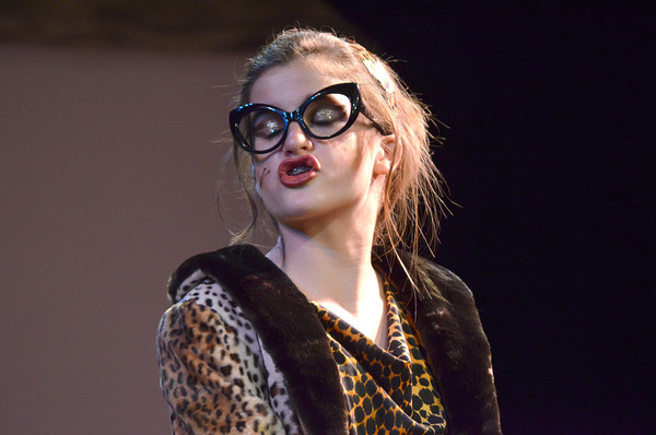"Brooke Lasher rehearses for the Sooner Theatre's presentation of "" Piggy Nation.<br /> Transcript Photo by Kyle Phillips"