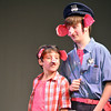 "Alex Irwin, left, and Brady Bell play the parts of Sammy and Hank Hamhock Wednesday as they rehearse for the Sooner Theatre's presentation of "" Piggy Nation.<br /> Transcript Photo by Kyle Phillips"