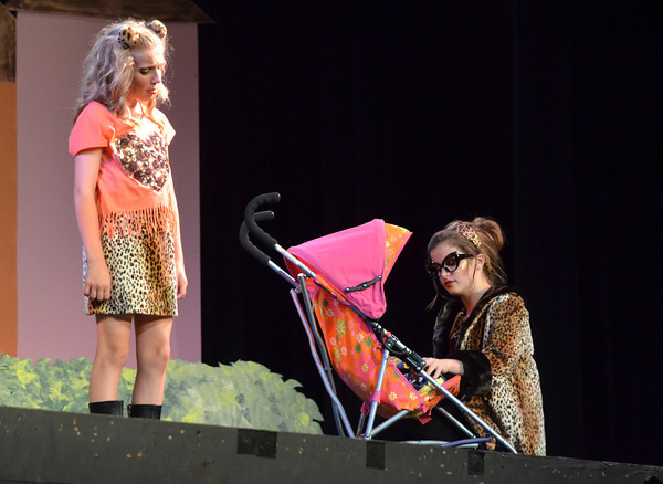 """Cast member rehearse for the Sooner Theatre's presentation of """" Piggy Nation.<br /> Transcript Photo by Kyle Phillips"""