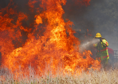 A Cedar Creek firefighter battles a flare up in a field off of Cemetery Road Friday afternoon as crews try to contain a wild fire that is buring in Cleveland County. Kyle Phillips/The Transcript