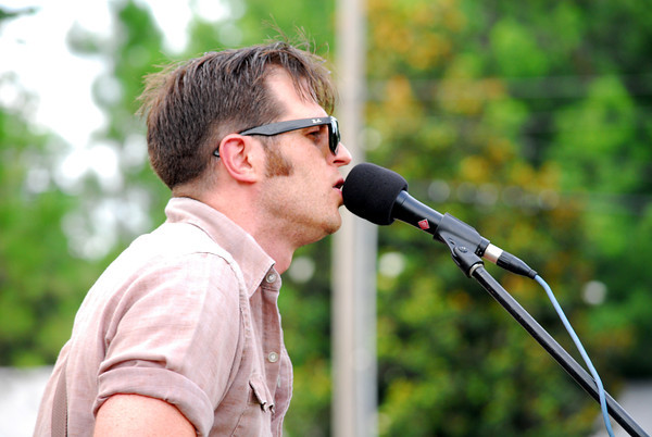 Beau Jennings sings a song Sunday afternoon during the Summer Breeze concert Sunday evening at Lions Park.<br /> Kyle Phillips/The Transcript