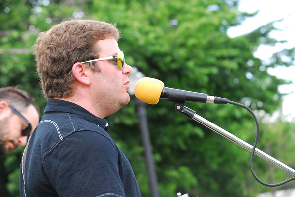 Jarod Evans sings a song during the Beau Jennings and the Tigers concert at Lions Park during the Summer Breeze Concert Series Sunday.<br /> Kyle Phillips/The Transcript