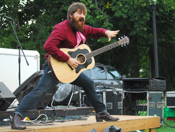 David Mayfield performs for the crowd with his band  the David Mayfield Parade as the bandplays a show Sunday at Lions Park during the Summer Breeze Concert Series.<br /> Kyle Phillips/The Transcript