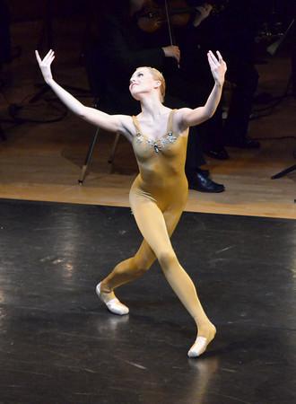 "Oklahoma Festival Ballet dancer Melanie Jensen performs her part in Joseph Hayden's ""The Creation"" Sunday at Sharp Concert Hall of Catlett Music Center.<br /> Transcript photo by Kyle Phillips"