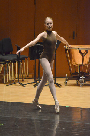 OU ballet dancer Melanie Jensen rehearses for The Creation at Sharp Hall Tuesday evening.  The show will be April 13-15, 2012 at <br /> Holmberg Hall, Reynolds Performing Arts Center on OU campus.<br /> Transcript Photo by kyle Phillips