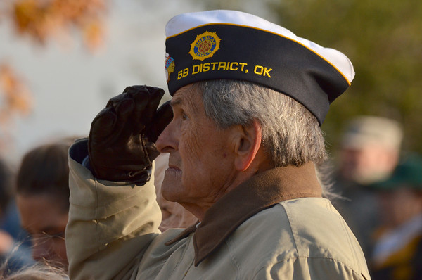 Vietnam veteran James Hood Jr. salutes the flag during the National Anthem Sunday at the Veterans Day ceremony at Reaves Park.<br /> Kyle Phillips/The Transcript