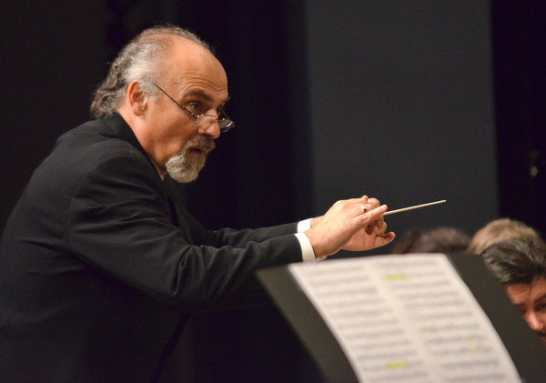 Dr. Richard Zielinski directs the Norman Philharmonics as they perform during a concert Sunday at the Nancy O'Brian Center for the Performing Arts.<br /> Kyle Phillips/The Transcript