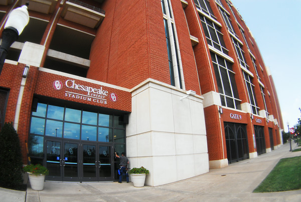 Workers prep Oklahoma Memorial Stadium for Saturday's game