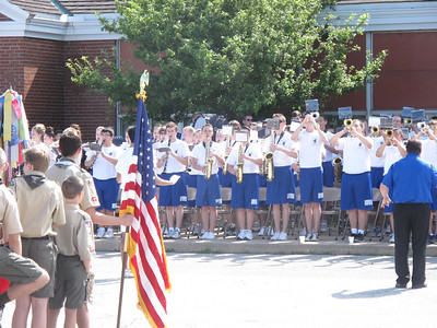 ELIZABETH DOBBINS / GAZETTE Brunswick High School Marching Band performed at the ceremony preceding the Memorial Day parade in Brunswick.
