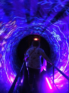 BOB SANDRICK / GAZETTE  The Castle Noel tour includes the spinning Blizzard Vortex Tunnel, for those who can handle it.