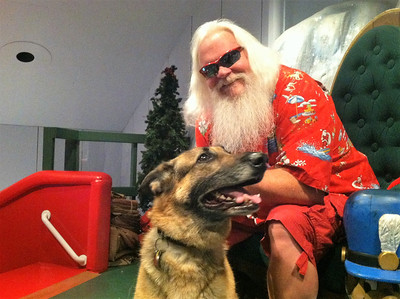 BOB SANDRICK / GAZETTE  Pets such as Mokka, a 7-year-old German Shepherd, posed with Santa on Saturday during Castle Noel's Christmas in July festival.