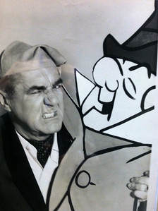 BOB SANDRICK / GAZETTE  A wall of pictures from television and movie Christmas productions is featured in Castle Noel. Here, Jim Backus posed with Mr. Magoo, whom he voiced.