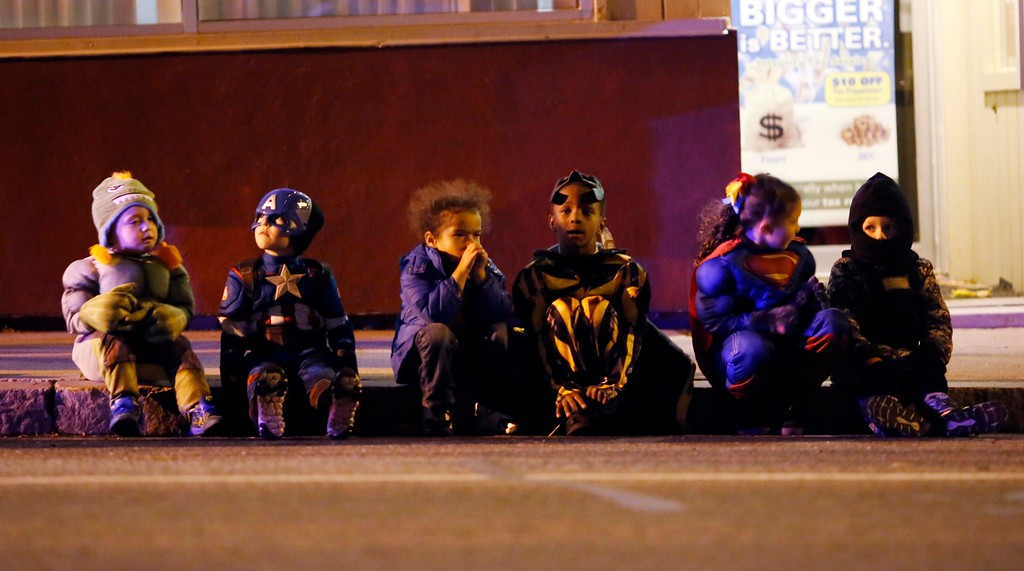 . Costumed kids wait for the annual Halloween Parade to begin on Tyler Street in Pittsfield. Friday, October 28, 2016. Stephanie Zollshan � The Berkshire Eagle | photos.berkshireeagle.com