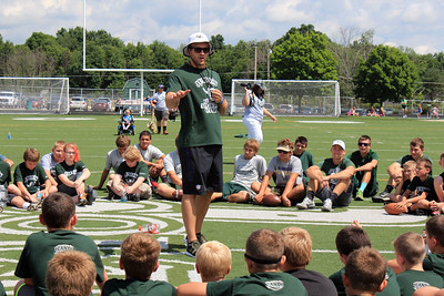 HALEE HEIRONIMUS / GAZETTE At the end of the camp, Kyle Juszczyk talks to the campers about the importance of goal setting. Juszczyk told the kids that he was once in their shoes but set goals to make it to the National Football League.