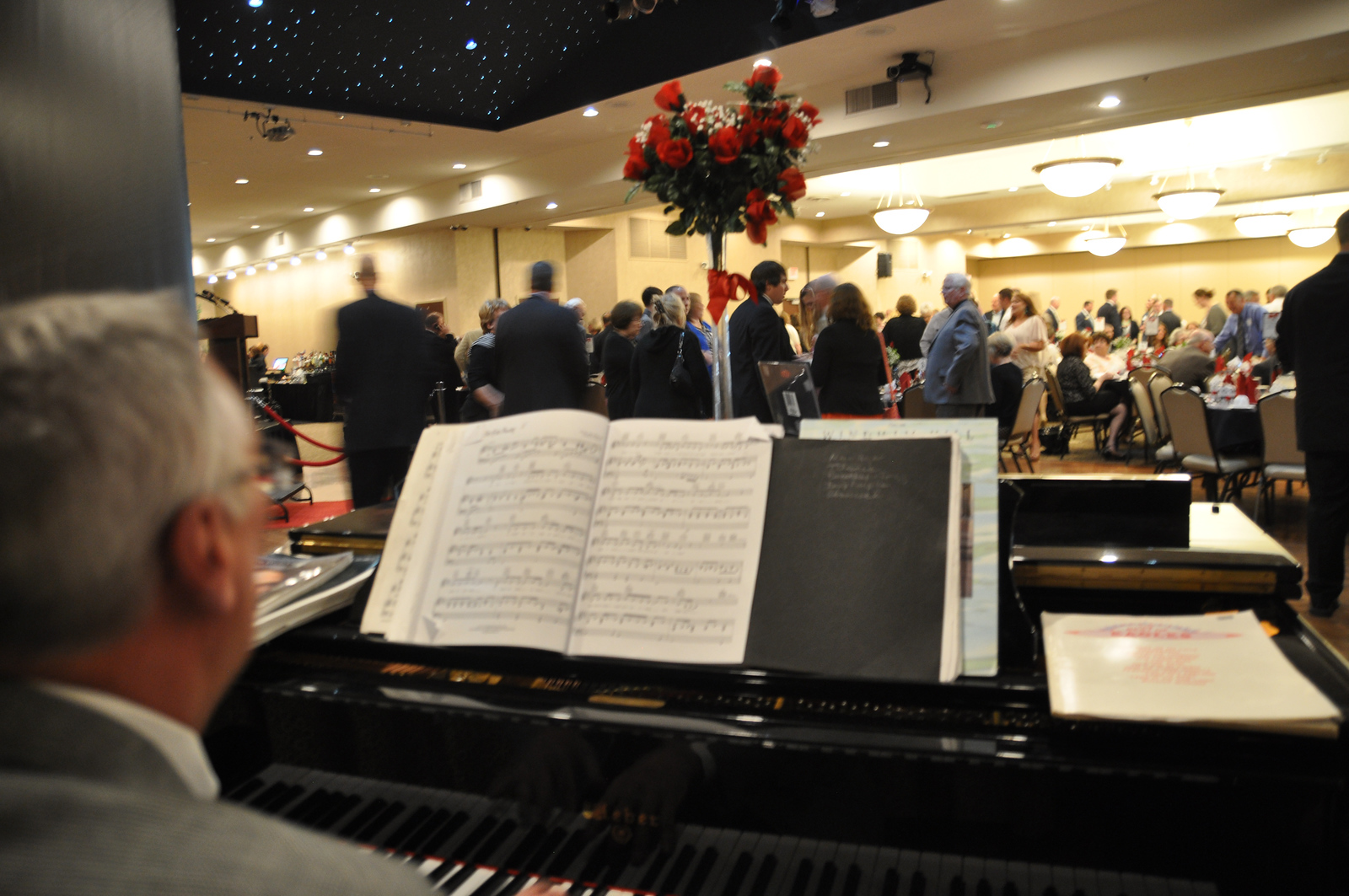 ASHLEY FOX / GAZETTE Treasurer John Burke plays the piano for a crowd of 192 people at The Rosie Awards Wednesday evening, a gig he performs every year.