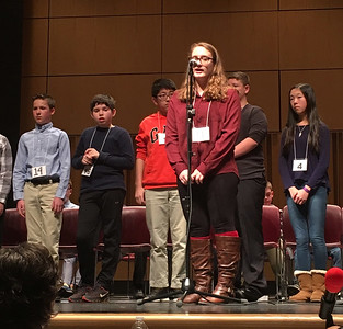 "ASHLEY FOX / GAZETTE Lauren Myers, an eighth-grade student from Black River Middle School, appears at the microphone Saturday during the 2017 Akron Regional Spelling Bee held at the Akron-Summit County Public Library. Myers reached the fourth round before missing ""borzoi."""