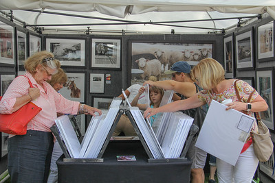 ALEC SMITH / GAZETTE Cheri Davis (left) and Carrie Bellnoski (right), both of Medina, look over Matthew Platz Photography items on Sunday during the Art in the Park juried show on Public Square in Medina.
