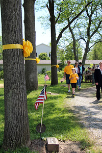 HALEE HEIRONIMUS / GAZETTE Trees wrapped in a yellow ribbon designates World War II veterans that are buried at Westview Cemetery in Brunswick. Each veteran recently receieved a new gravestone donated by the Medina County Veterans Services Office and the city of Brunswick.