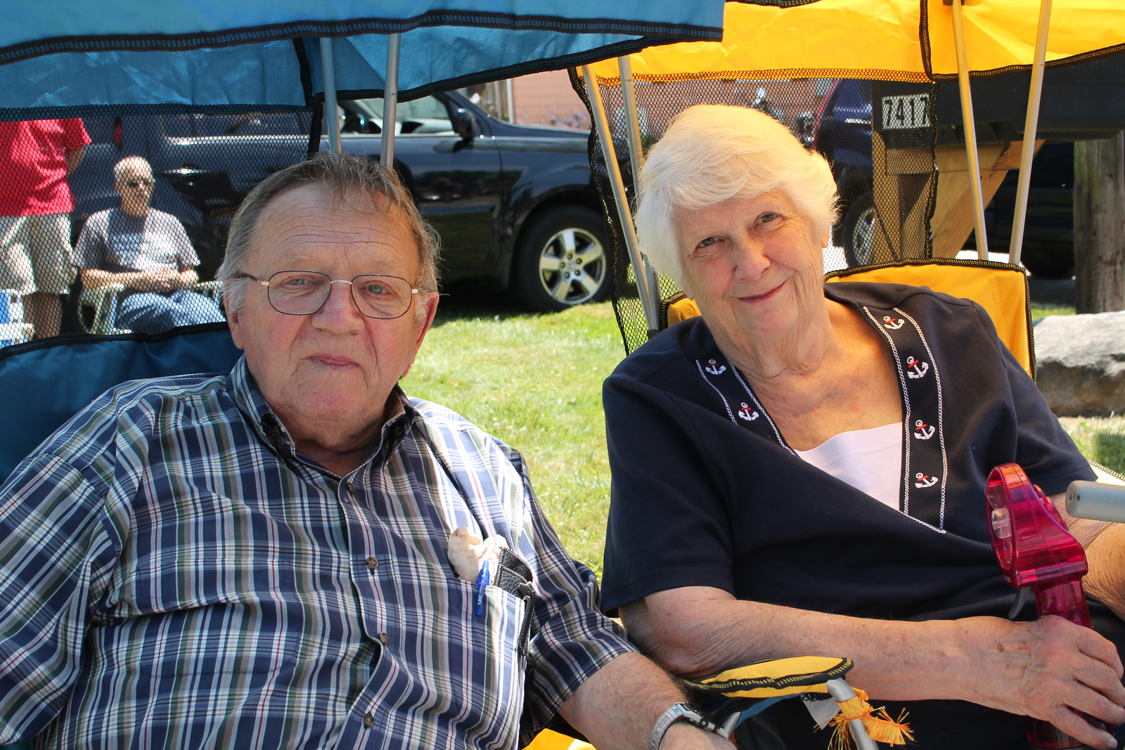 LAWRENCE PANTAGES / GAZETTE Arnold and Shirley Sikula watch Tuesday's July 4 parade in Chippewa Lake. The couple has lived in the village since 1948.
