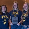 FFA members, from left, Berklie Haag, Devin Tiensvold and Morgan Darnell, all of Gordon-Rushivlle High School, first place in Ag Demonstration, pose following the District Leadership Conference in the Chadron State College Student Center Wednesday, Nov. 15, 2017. (Photo by Tena L. Cook/Chadron State College)
