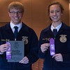 FFA members, from left, Hunter Hawk, first, Chadron, and Grace Skavdahl, second, Sioux County, pose following the District Leadership Conference in the Chadron State College Student Center Wednesday, Nov. 15, 2017. (Photo by Tena L. Cook/Chadron State College)