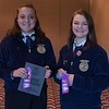 FFA members, from left, Riccarda Manhart, first, Alliance, and Angela Johnson, second, of Sioux County High School, pose following the District Leadership Conference in the Chadron State College Student Center Wednesday, Nov. 15, 2017. (Photo by Tena L. Cook/Chadron State College)