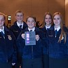 FFA members, from left, Rhett Dyrkstra, Miquela Purscell, Justin Mingen, Nolan Ortgies, Jersie Misegadis, Paris Jackson, Mariah Koenen, all of Creek Valley High School,  first place in Conduct of Chapter Meetings, pose following the District Leadership Conference in the Chadron State Student Center Wednesday, Nov. 15, 2017. (Tena L. Cook/Chadron State College)