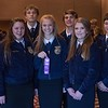 Maddie Lake, Tarah Ross, Colton Holthus, Kaitlyn Hunt, Chesney Standczyk, Kelsey Moffat, Colton Coss, Garden County, second place in Conduct of Chapter Meetings, pose following the District Leadership Conference in the Chadron State College Student Center Wednesday, Nov. 15, 2017. (Photo by Tena L. Cook/Chadron State College)