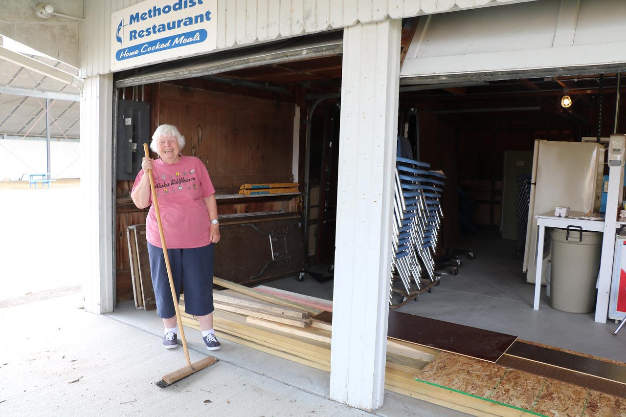 LUCAS FORTNEY / GAZETTE Ruby Sherman, 86, of Brunswick, is helping with the operations of the Brunswick United Methodist Church restaurant at the Medina County Fair. Sherman said she has helped off and on for the last 30 years.
