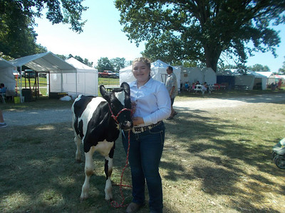 PHOTO PROVIDED Megan Emerson, a sophomore at Buckeye High School, is shown at the Medina County Fair with her Starter Calf, Boone.