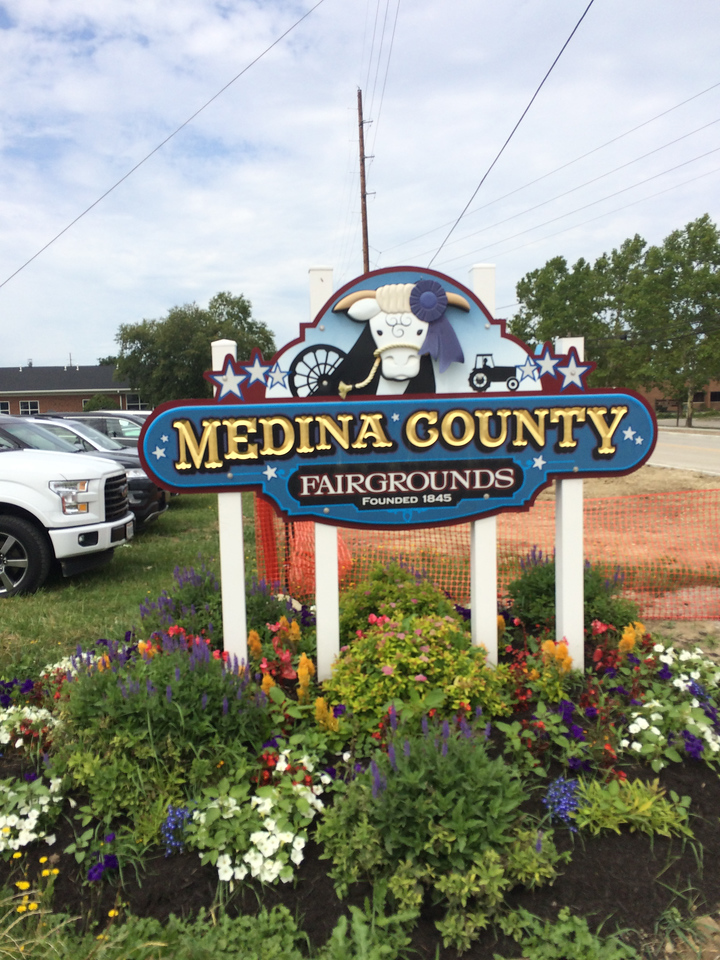 ANNIE RYAN HYRA / SPECIAL TO THE GAZETTE The Medina County Fairgrounds sign welcomes visitors to the Smith Road entrance.