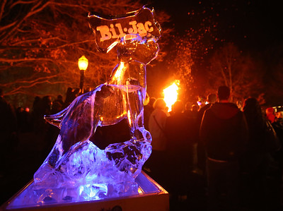 AARON JOSEFCZYK / GAZETTE A sculpture sponsored by pet food company Bil-Jac is shown Friday among the displays on Public Square for the 23rd Medina Ice Festival.