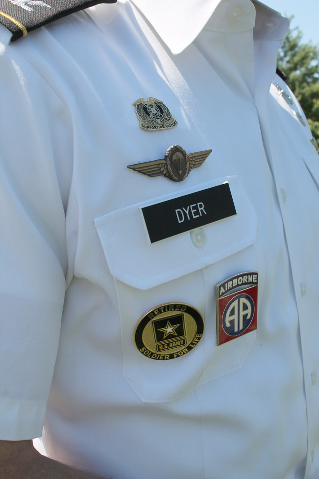 "LAWRENCE PANTAGES / GAZETTE Ken Dyer's dress uniform from his Army service includes a pin that says ""Soldier For Life."""