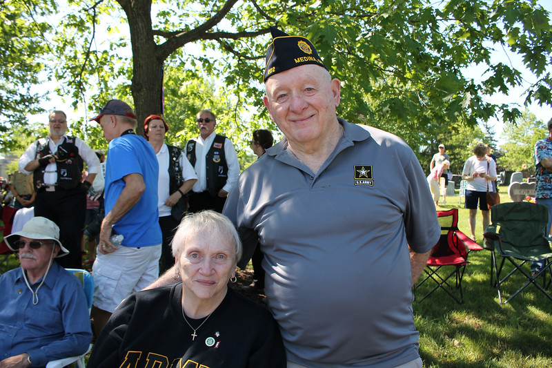 LAWRENCE PANTAGES / GAZETTE Shown at Monday's Memorial Day ceremonies are Joni Dyer and her husband Bill Dyer. Their son Ken Dyer was the featured speaker.
