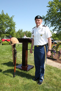 LAWRENCE PANTAGES / GAZETTE U.S. Army Col. (ret.) Ken Dyer was Monday's featured speaker at the city of Medina's Memorial Day ceremonies and parade that ended at Spring Grove Cemetery. Dyer's 31 years of Army service includes two tours each in Iraq and Afghanistan. He now works for Cleveland Clinic and lives in Medina.