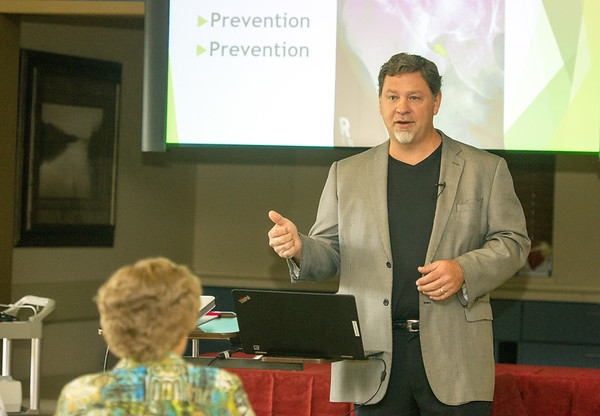 Dr. Christopher Banwart speaks about preventing falls during a Free Bone Health and Falling Risk Event last week at Ortho Four States.<br /> Globe | Laurie SIsk