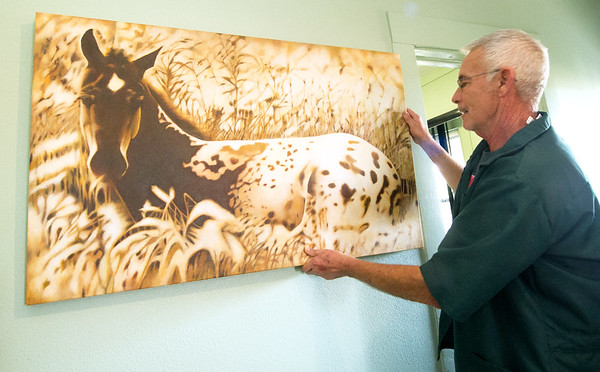 "Veterinarian and artist Michael Gory hangs his acrylic piece, ""Awakening"" at his College View Veterinary Clinic on Tuesday. <br /> Globe 