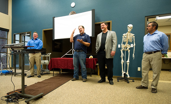 From the left: Dr. James Adams, Dr. Brian Ipsen, Dr. Christopher Banwart and Physical Therapist Al Siguenza answer questions at the Free Bone Health and Falling Risk Event last week at Ortho Four States.<br /> Globe | Laurie SIsk