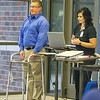 Dr. Brian Ipsen demonstrates the use of a balance board during a Free Bone Health and Falling Risk Event last week at Ortho Four States.<br /> Globe | Laurie SIsk