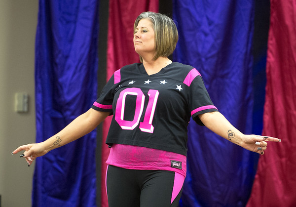 Certified Zumba instructor Missy Short leads Freeman's Party in Pink Zumba event on Tuesday at the Freeman Business Center. The event was to show support for breast cancer patients and survivors.<br /> Globe | Laurie Sisk
