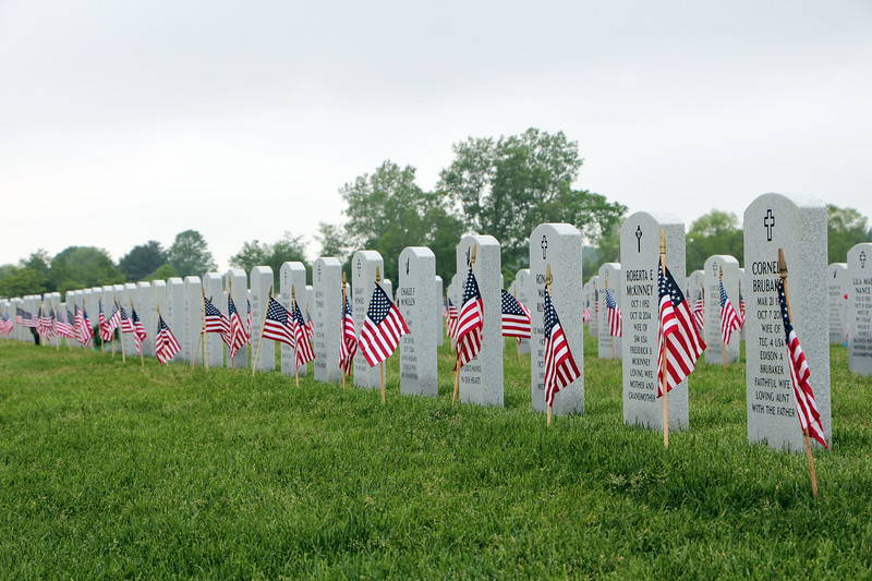 HALEE HEIRONIMUS / GAZETTE American flags were staked at all the tombstones in the Ohio Western Reserve National Ceremony.
