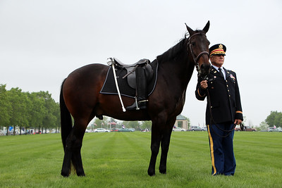 HALEE HEIRONIMUS / GAZETTE The riderless horse, which symbolizes a fallen leader, was escorted by Col. Vivian Duffy, a U.S. Army retire.