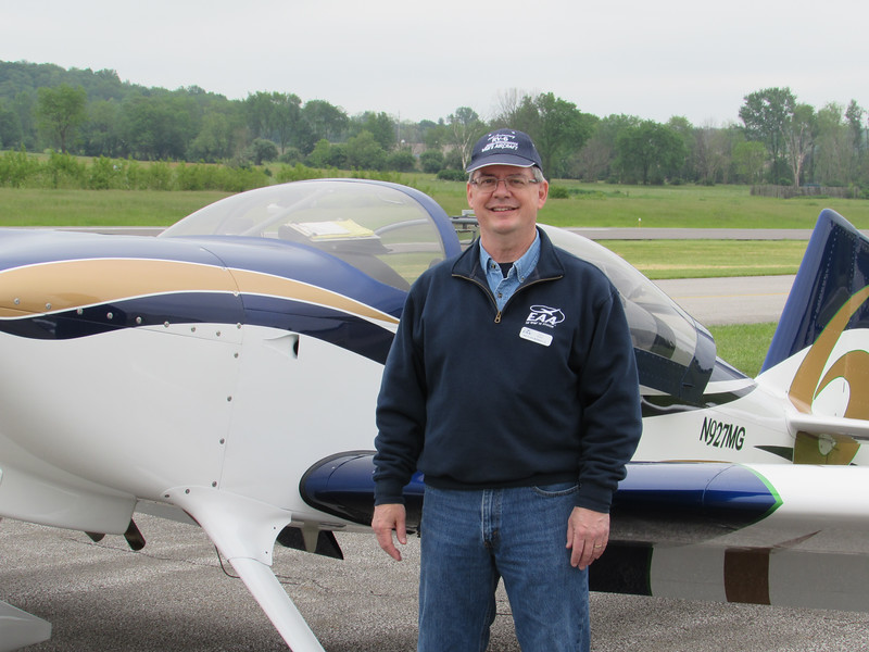 LYDIA MAINZER / GAZETTE Gary Baker, president of Wadsworth's chapter of the EAA, and the plane he built himself, a 2014 RV-6 N927MG.