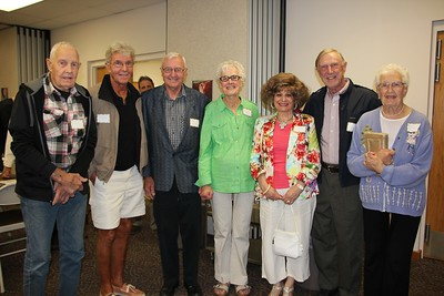 HALEE HEIRONIMUS / GAZETTE  The Singler siblings — from left are George, Mike, Bob (class of 1952), Margaret Singler-Wolfe (class of 1953), Maria (wife) and Cletus Singler, and Theresa Everiss-Singler (class of 1956) — attended the 110th York High School Alumni Association banquet Friday evening.