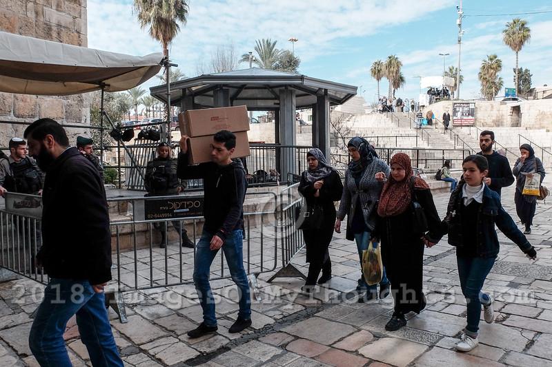 Security Measures at Damascus Gate in Jerusalem, Israel