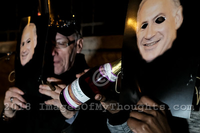 Purim Protest at PM's Residence in Jerusalem, Israel