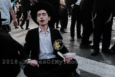 Ultra Orthodox Jews Protest Draft in Jerusalem,Israel